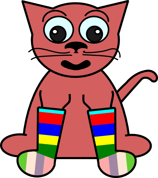 free vector Cartoon Cat In Rainbow Socks clip art