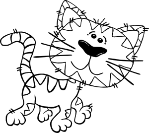 free vector Cartoon Cat Walking Outline clip art
