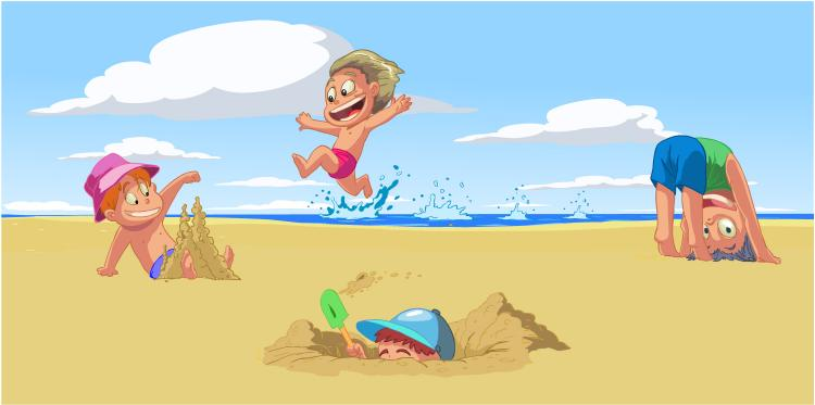 cartoon children summer beach vector free vector 4vector