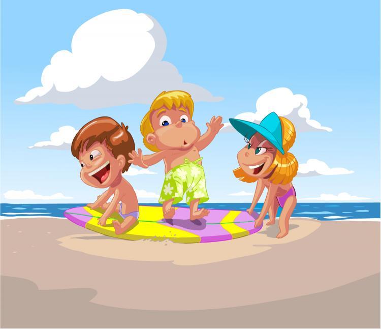 free vector Cartoon children summer beach vector