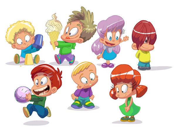 cartoon children vector free vector - Kids Cartoon Images