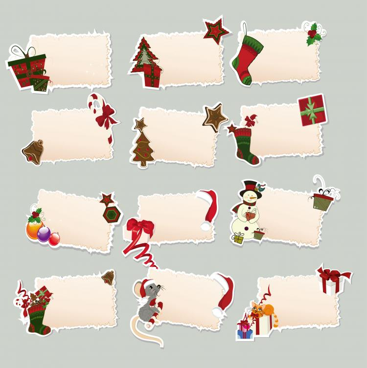 free vector Cartoon christmas elements label 01 vector