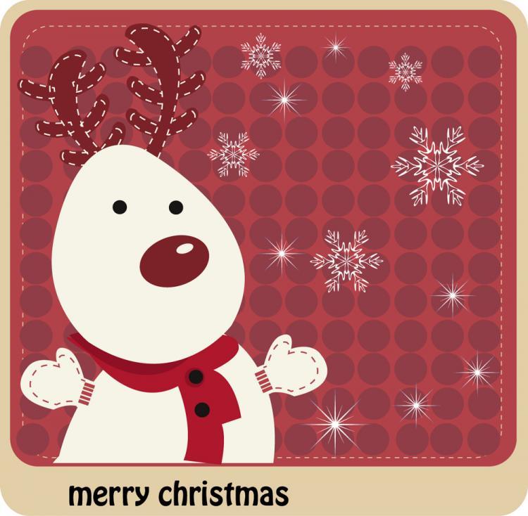 free vector Cartoon christmas elk 01 vector