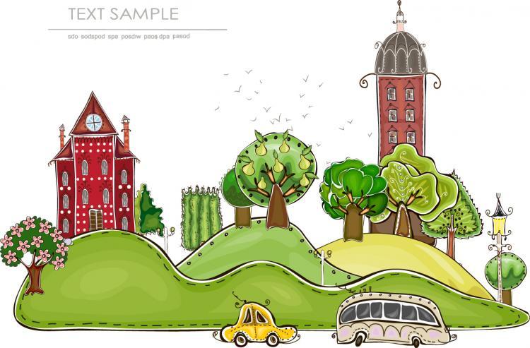free vector Cartoon city building elements vector 1