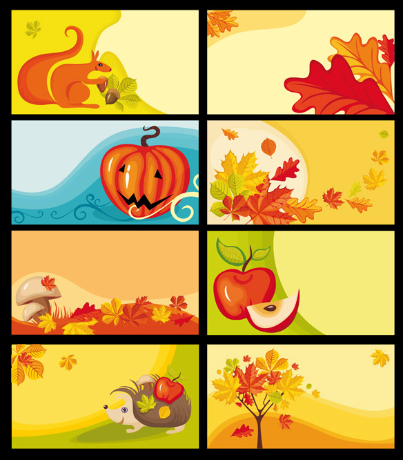 free vector Cartoon clip art decorative elements fall
