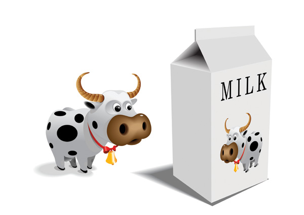 free vector Cartoon cow vector milk cartons and