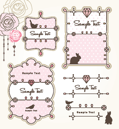 free vector Cartoon cute lace 02 vector
