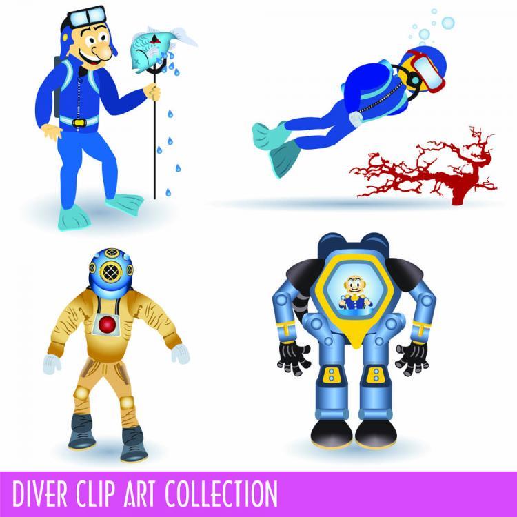 free vector Cartoon divers 02 vector