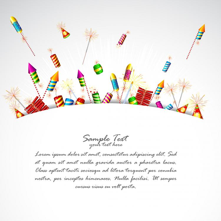 free vector Cartoon festival fireworks firecrackers vector