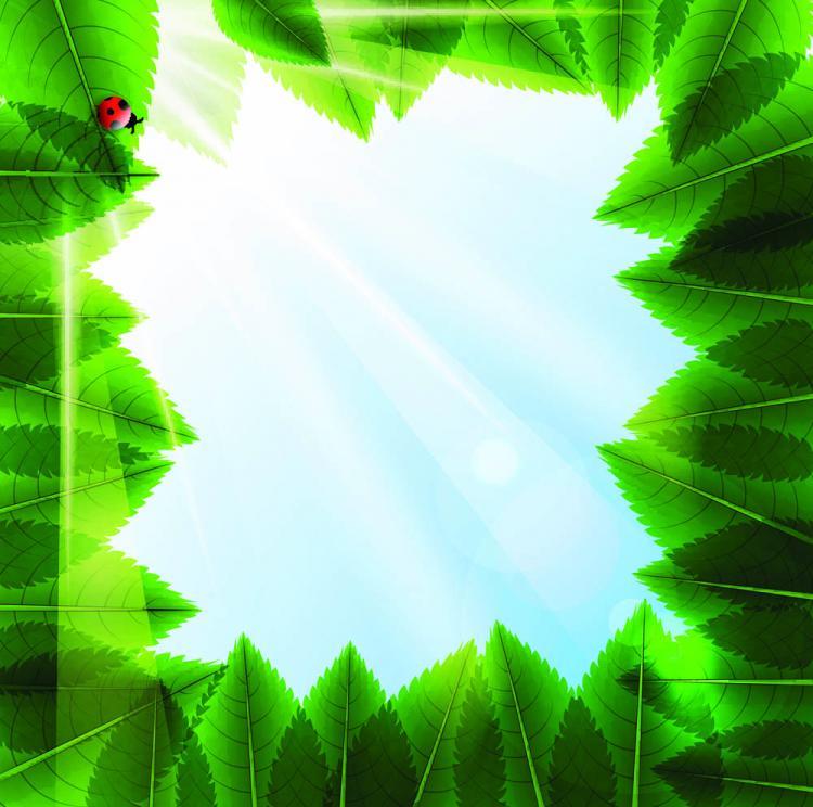 free vector Cartoon green leaf background vector