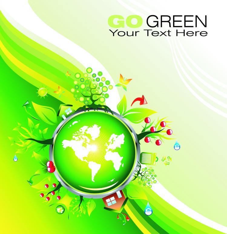 free vector Cartoon green polar coordinates vector