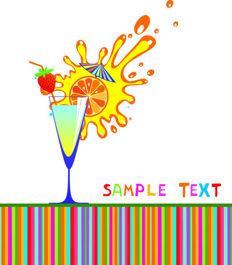 free vector Cartoon high glass and juice 02 vector