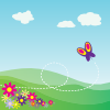 free vector Cartoon Hillside With Butterfly And Flowers clip art
