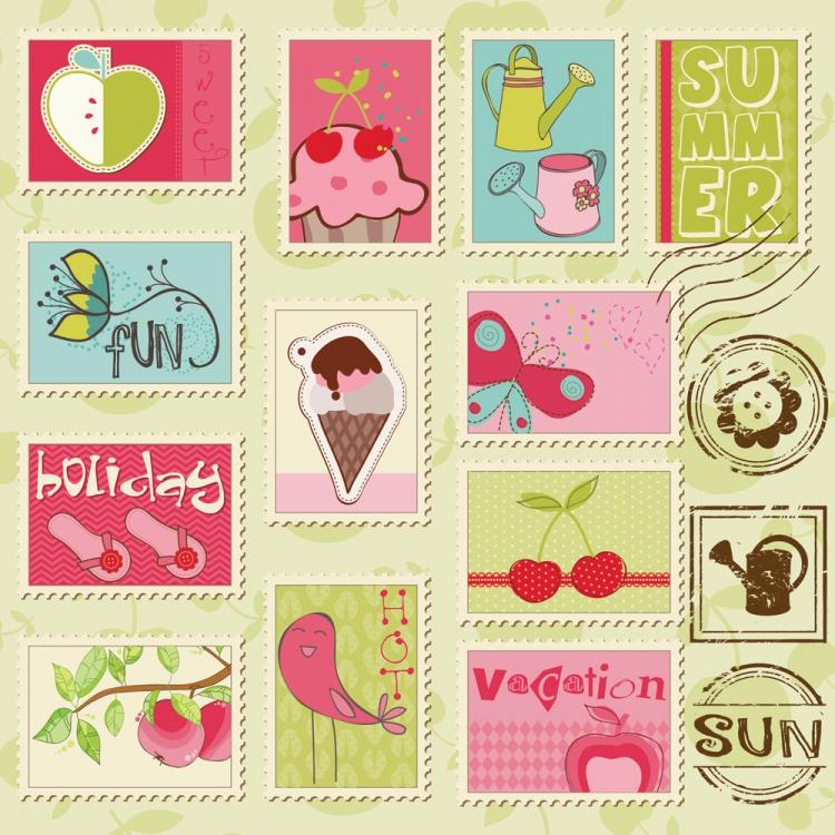 free vector Cartoon illustration stamp 02 vector