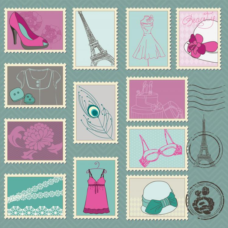 free vector Cartoon illustration stamp 03 vector