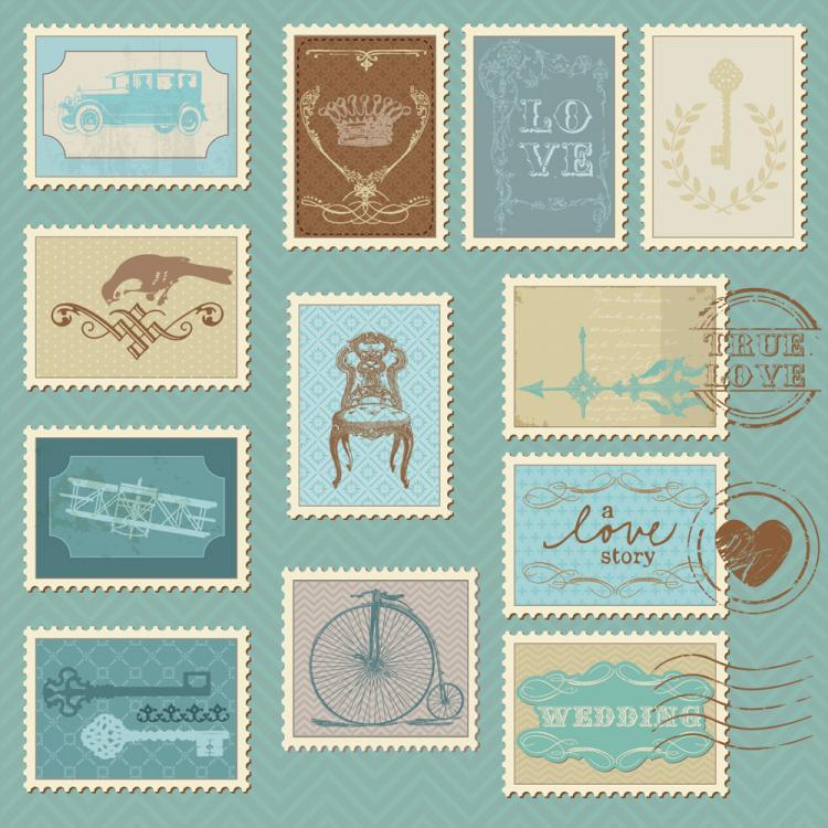 free vector Cartoon illustration stamp 05 vector