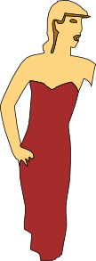 free vector Cartoon Lady Wearing Fashion Dress clip art