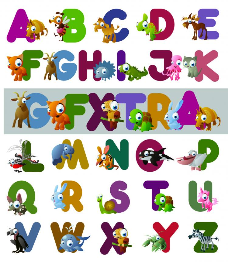 Cartoon Characters A Z : Cartoon letters vector free