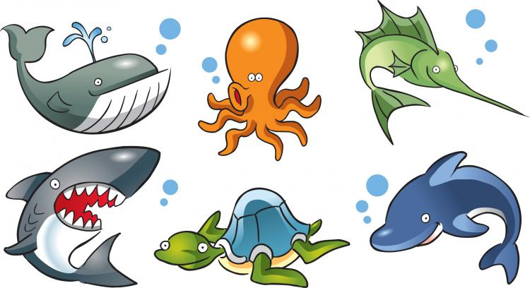 free vector Cartoon marine life vector