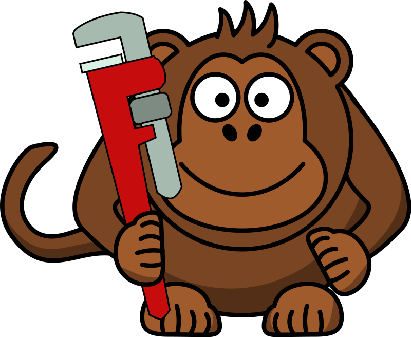 free vector Cartoon Monkey with Wrench