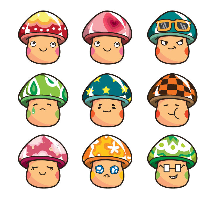 free vector Cartoon Mushrooms Vector Set