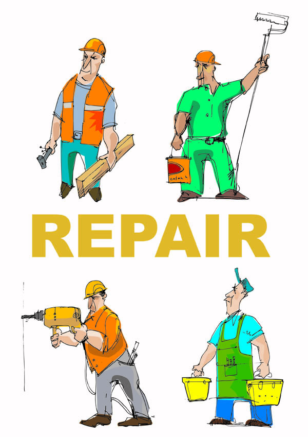 free vector Cartoon of workers and tools vector