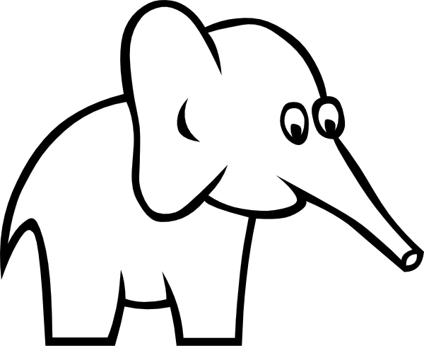free vector Cartoon Outline Elephant clip art
