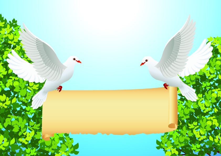 free vector Cartoon peace dove and roll vector