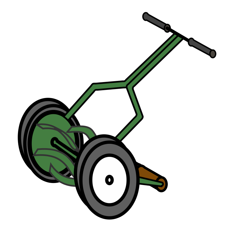 free vector Cartoon Push Reel Lawn Mower