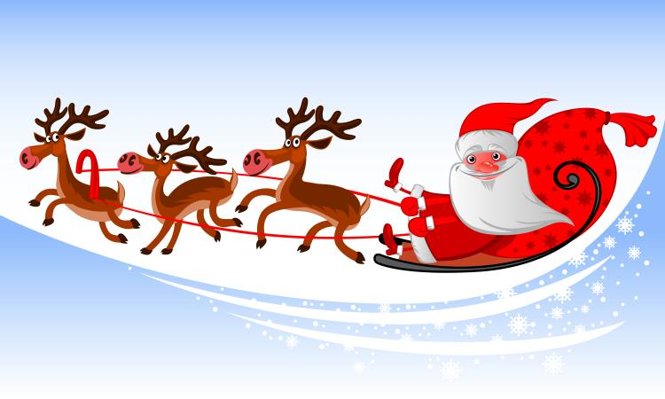 free vector cartoon santa claus and elk vector - Free Santa Claus Pictures