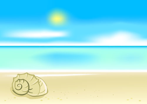 free vector Cartoon seaside landscape vector