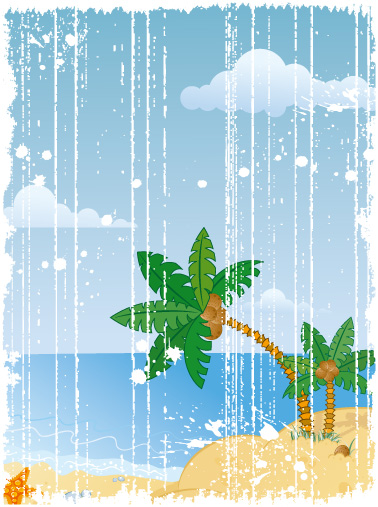 free vector Cartoon seaside scenery vector material