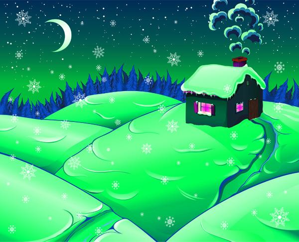 free vector Cartoon Snow Moonlight