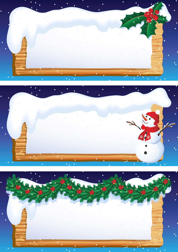 free vector Cartoon snowman banner vector