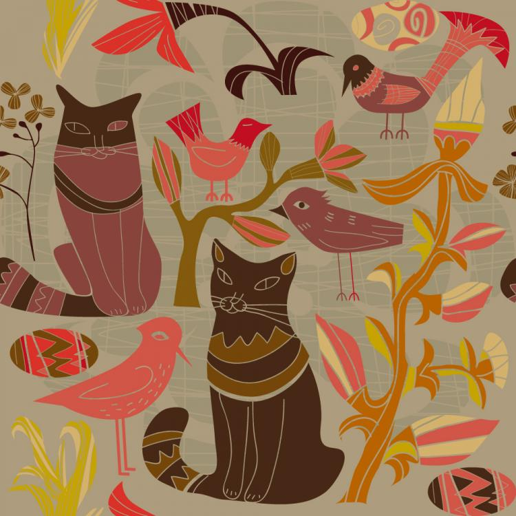 free vector Cartoon style decorative birds and cats 01 vector