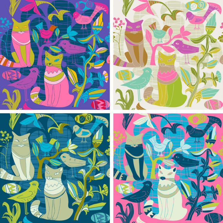 free vector Cartoon style decorative birds and cats 02 vector