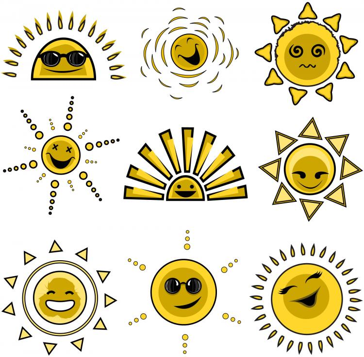 free vector Cartoon sun image 01 vector