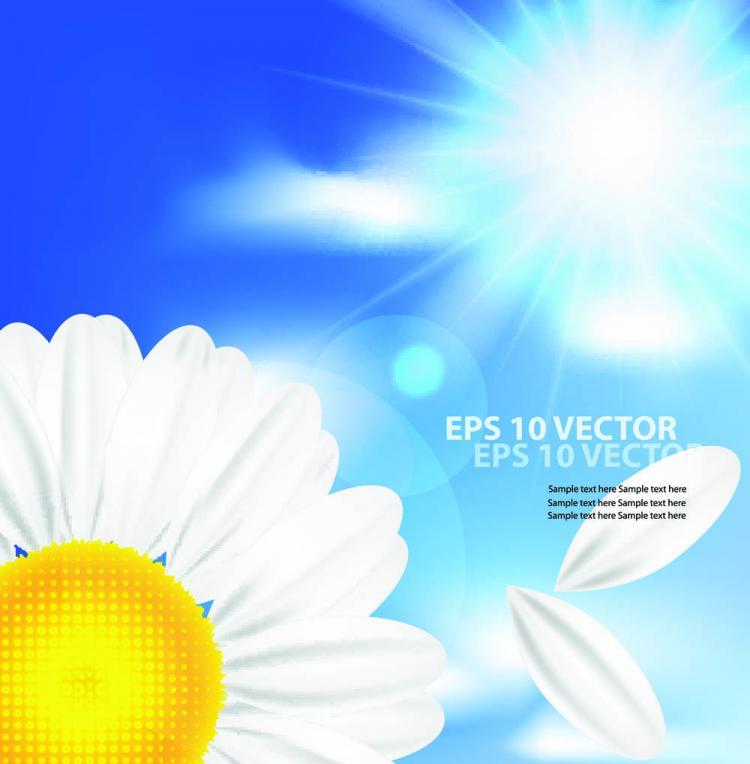 free vector Cartoon sunflower background 02 vector