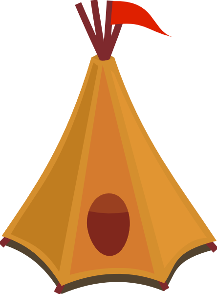 free vector Cartoon Tipi Tent With Red Flag clip art