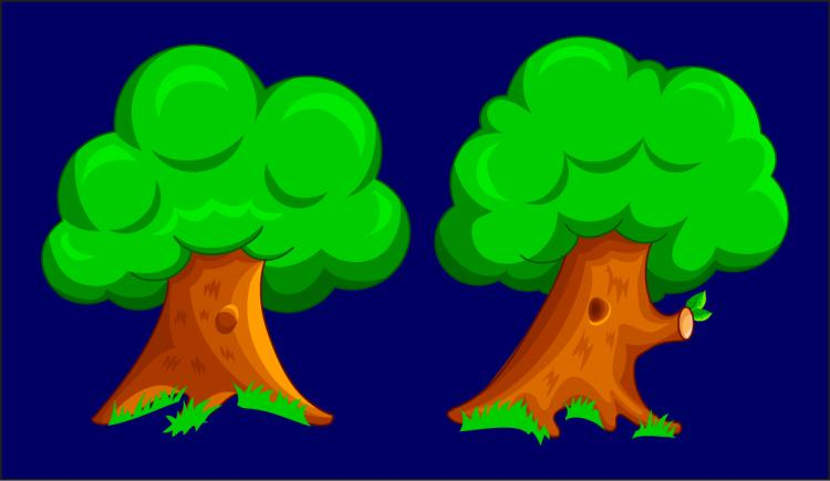 free vector Cartoon two trees
