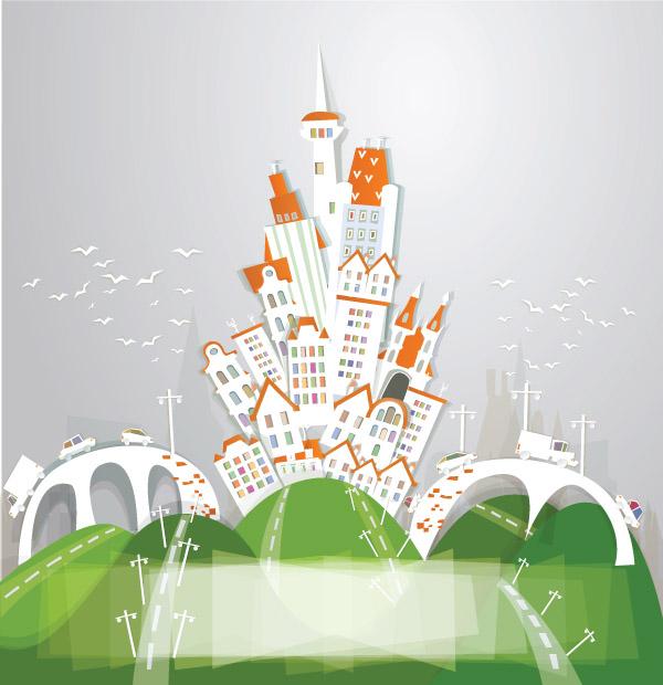 free vector Cartoon urban theme vector 2