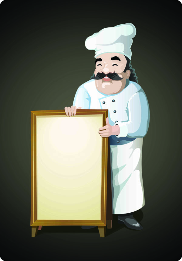 free vector Cartoon waiter vector