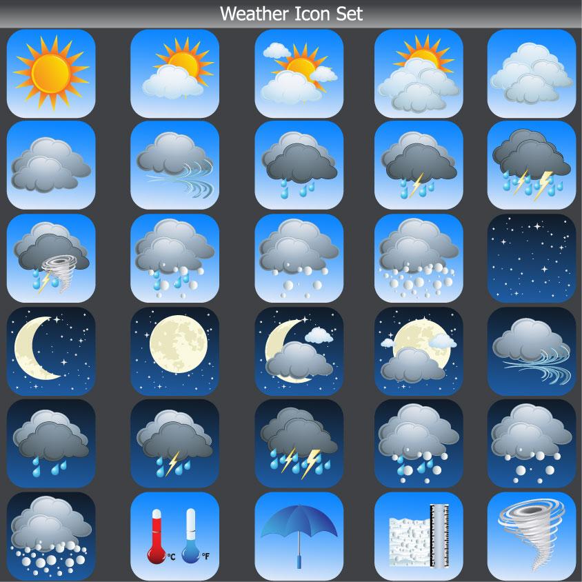 free vector Cartoon weather icon 03 vector