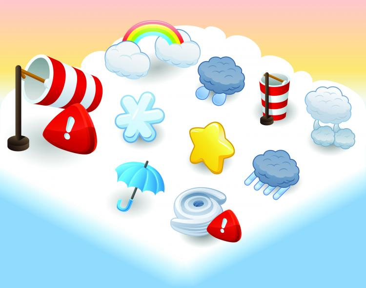 free vector Cartoon weather icon 03 vector