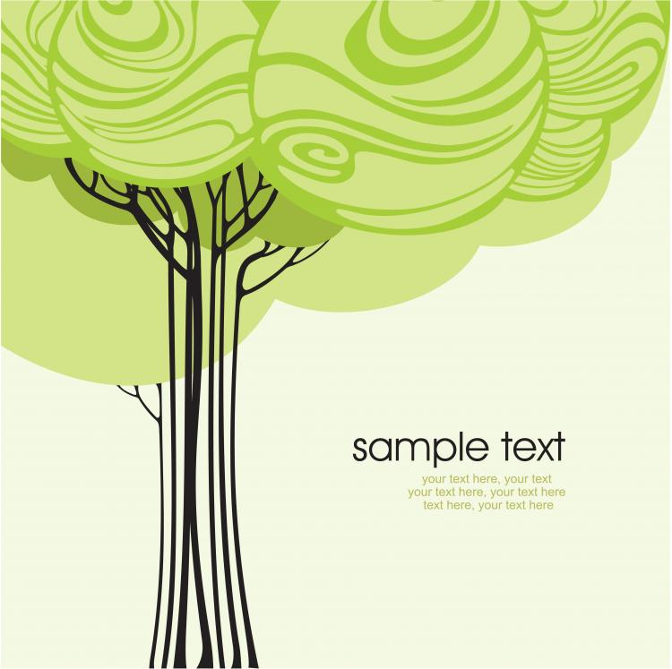 free vector Cartoonline draft tree 02 vector