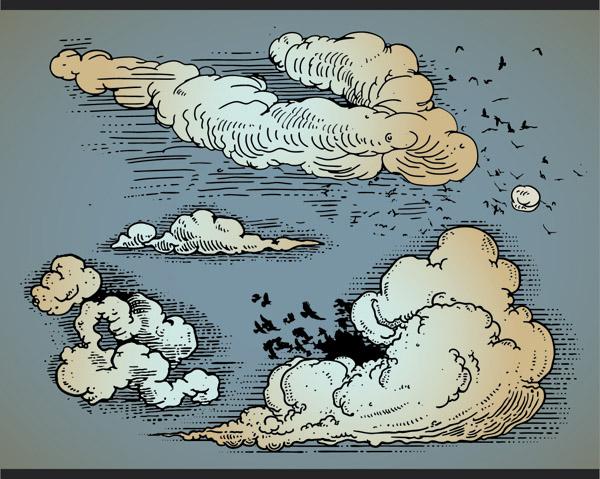 free vector Cartoonstyle vector 3 clouds
