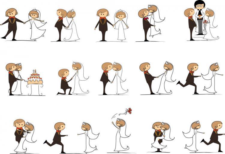 free vector Cartoonstyle wedding elements 06 vector
