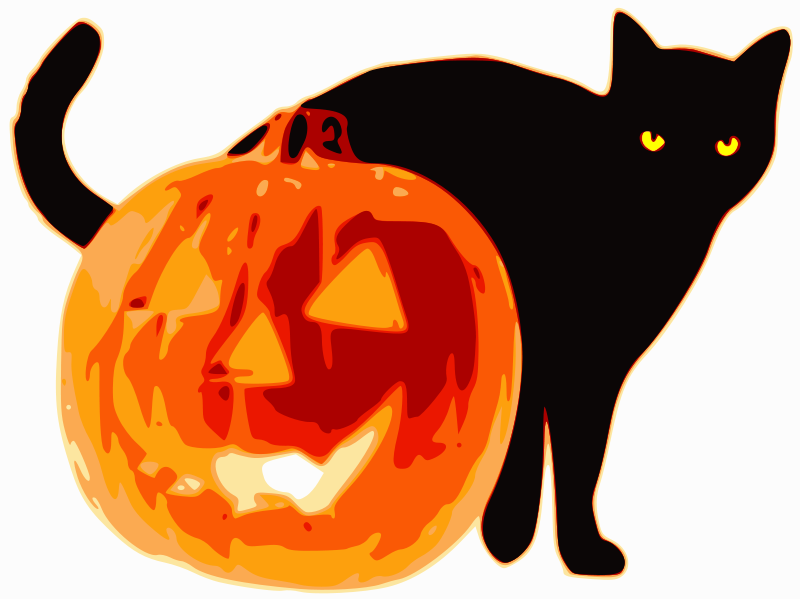 free vector Cat and Jack-O-Lantern