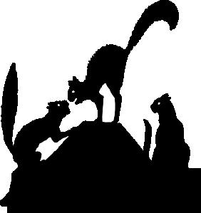 free vector Cat Fight Silhouette clip art
