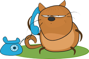 free vector Cat Talking In Phone clip art